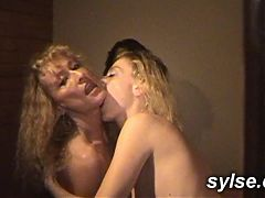 4 MILFs and Teens in cage with Sex Toys & Dildo