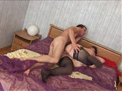 Russian brunette BBW with young man sc1